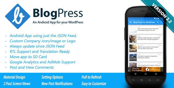 BlogPress v2.1 - An Android App for your WordPress