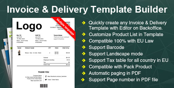 Woocommerce Invoice & Delivery Template Builder