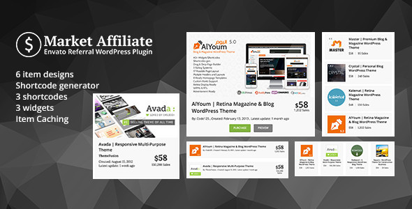 Market Affiliate v1.1 - Envato referral WordPress Plugin