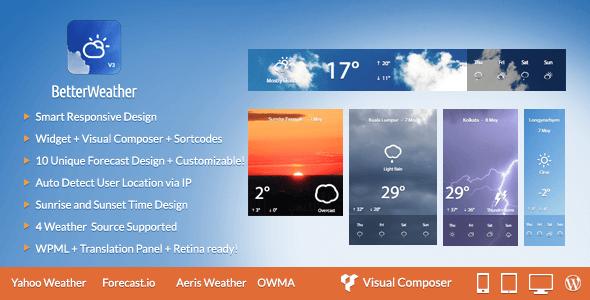 Better Weather v3.1 - WordPress and Visual Composer Widget