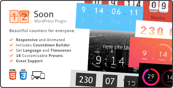 Soon Countdown Pack v1.8.1 - Responsive WordPress Plugin