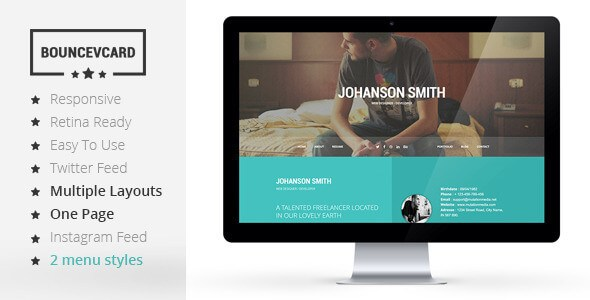 BOUNCE v1.0 – Responsive One Page Vcard HTML5 Template