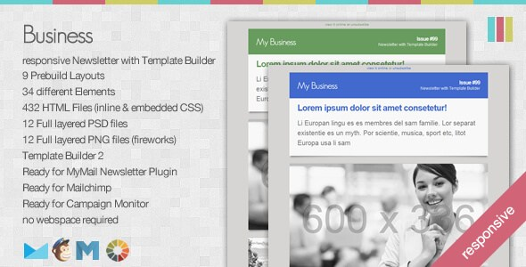 Business – Responsive Newsletter with Template Builder