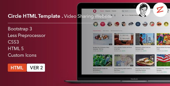 Circle v3.2 – Video Sharing Website HTML5 Template