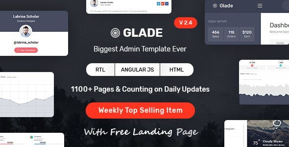 Glade v1.5 – Responsive Admin Dashboard Template with Angular