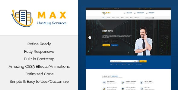 Max Hosting v1.0 – Responsive Hosting HTML5 & CSS3 Template
