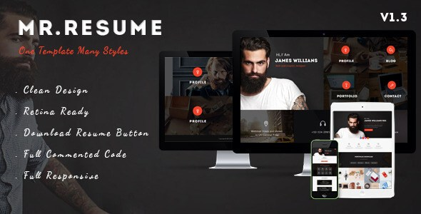 Mr.Resume – One Page Resume/Personal HTML5 Template