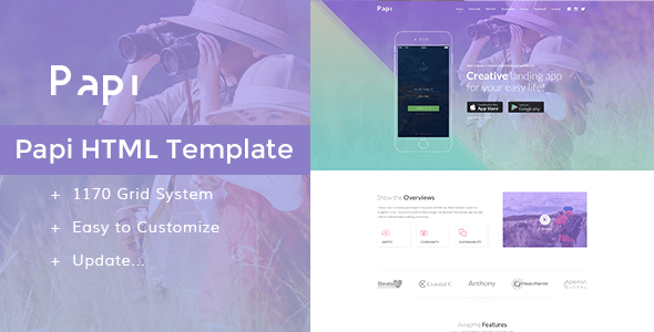 Papi v1.0 – Responsive App HTML5 Template