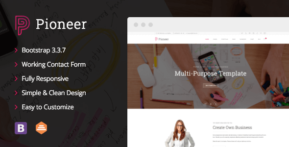 Pioneer v1.0.2 – Multi-Purpose HTML5/CSS3 Corporate Template