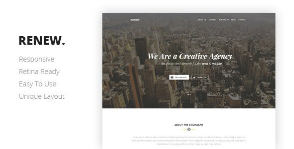 RENEW v1.0 – Responsive Creative One Page HTML Template