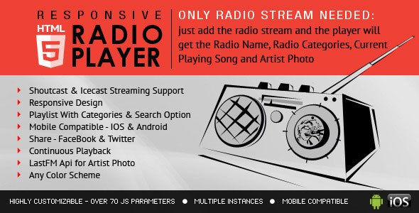 Radio Player With Playlist – Shoutcast and Icecast Javascript Plugin