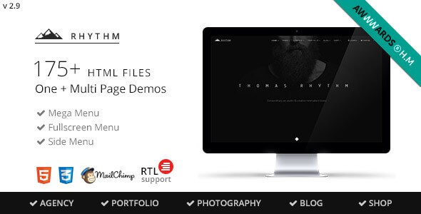 Rhythm v2.9.5 – Multipurpose One/Multi Page HTML5 Template