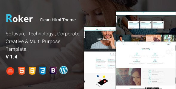 Download Roker v1.3 – Software & Business Bootstrap Template