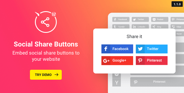 Social Share Buttons v1.2.0 – WordPress Social Share Plugin