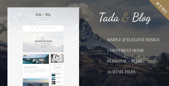 Tada & Blog v1.0 – Responsive Personal Blog HTML5 Theme
