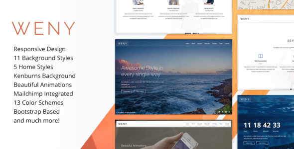 Weny v1.4 – Responsive Coming Soon Site Template