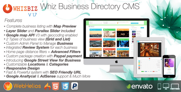 WhizBiz v1.7 – Responsive Business Directory CMS PHP Script